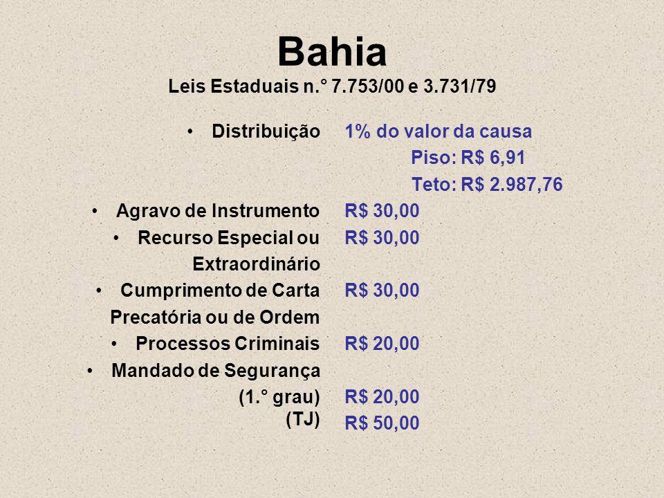 Bahia Leis Estaduais n.° 7.753/00 e 3.731/79