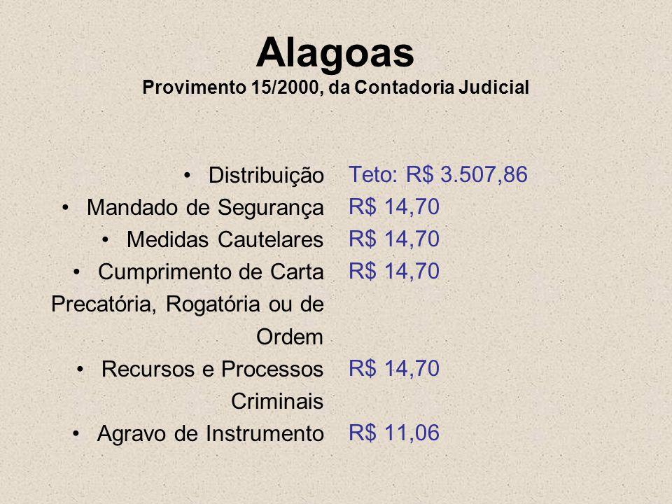 Alagoas Provimento 15/2000, da Contadoria Judicial