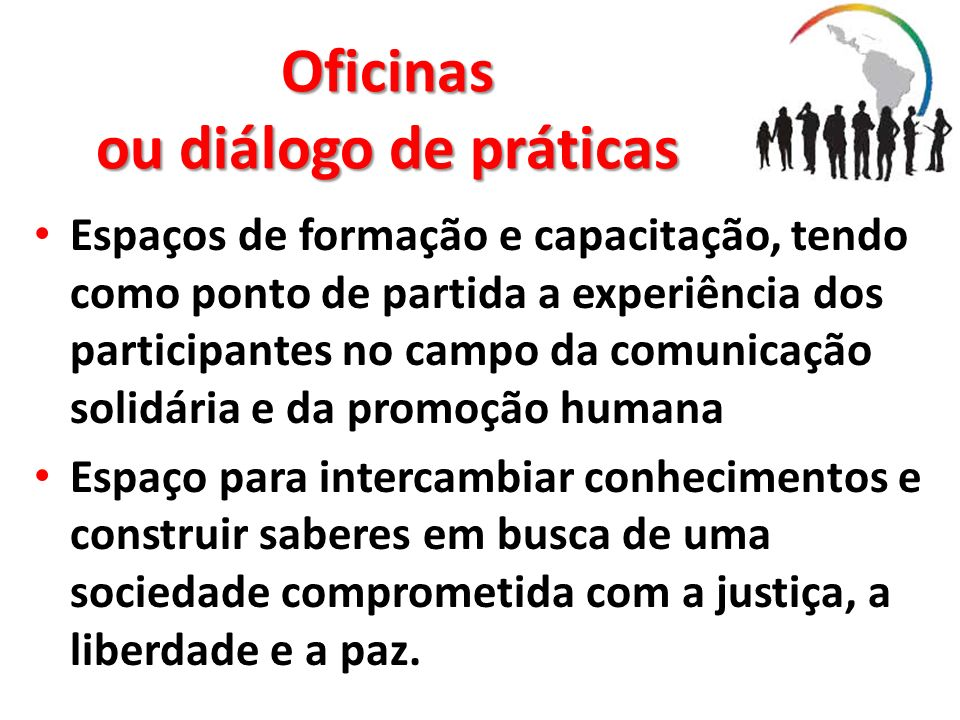Oficinas ou diálogo de práticas