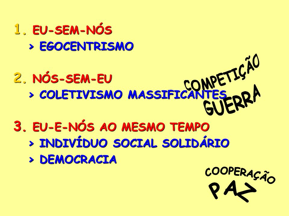 > COLETIVISMO MASSIFICANTES EU-E-NÓS AO MESMO TEMPO