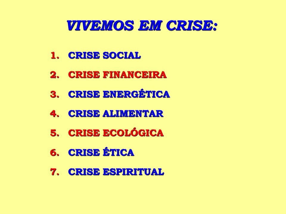 VIVEMOS EM CRISE: CRISE SOCIAL CRISE FINANCEIRA CRISE ENERGÉTICA