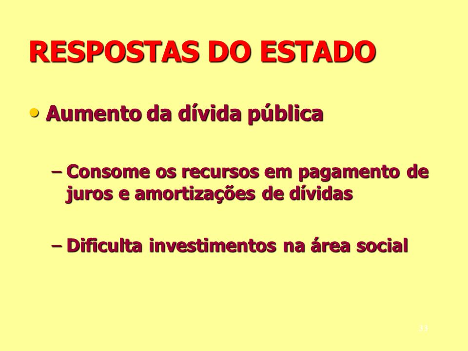 RESPOSTAS DO ESTADO Aumento da dívida pública