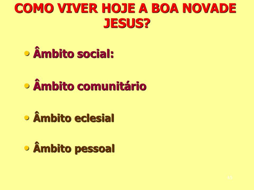 COMO VIVER HOJE A BOA NOVADE JESUS