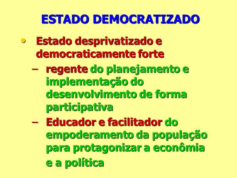 ESTADO DEMOCRATIZADO Estado desprivatizado e democraticamente forte