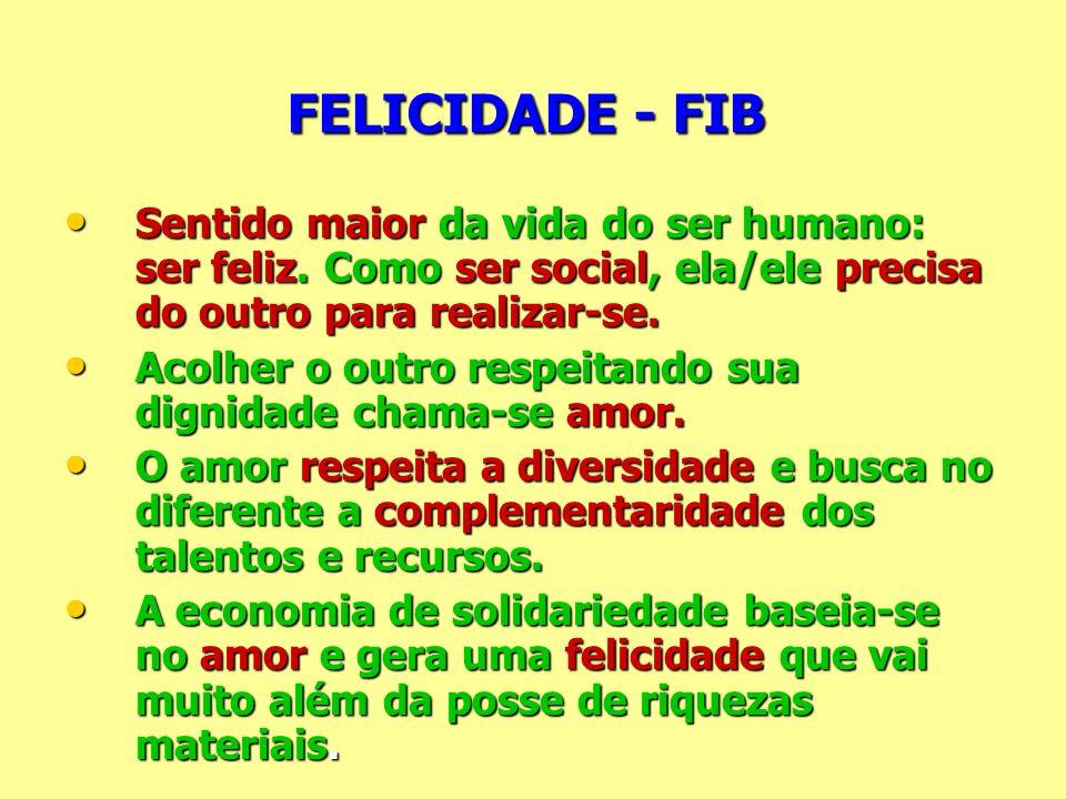 FELICIDADE - FIB Sentido maior da vida do ser humano: ser feliz. Como ser social, ela/ele precisa do outro para realizar-se.