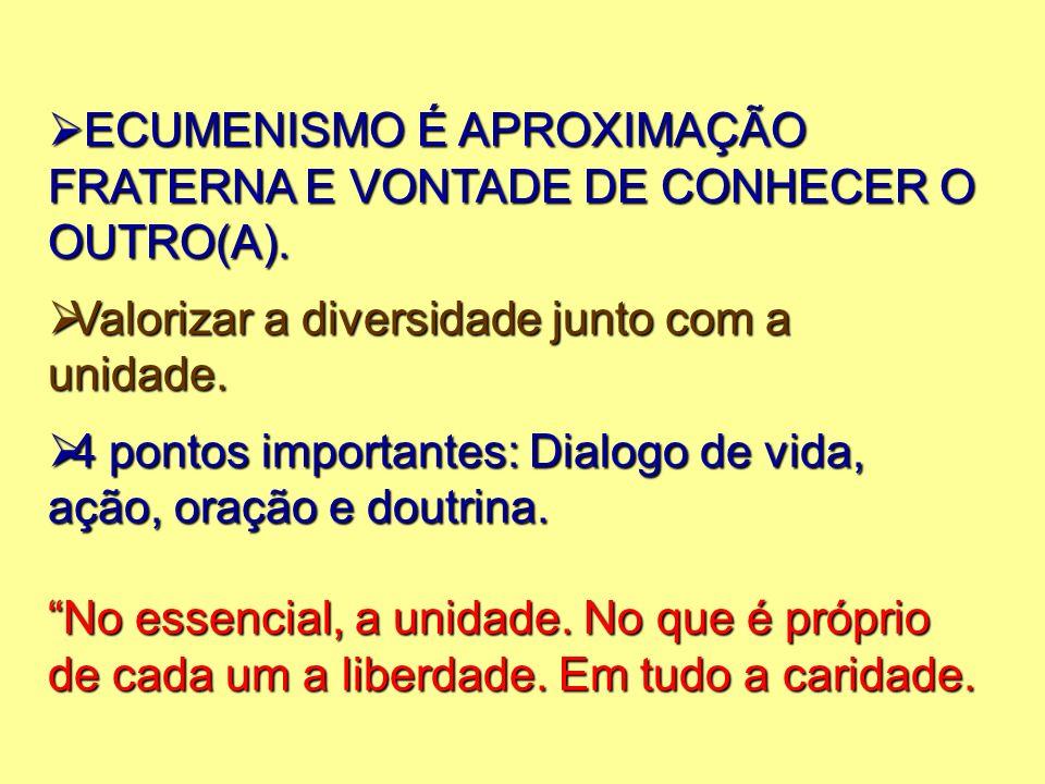 ECUMENISMO É APROXIMAÇÃO FRATERNA E VONTADE DE CONHECER O OUTRO(A).