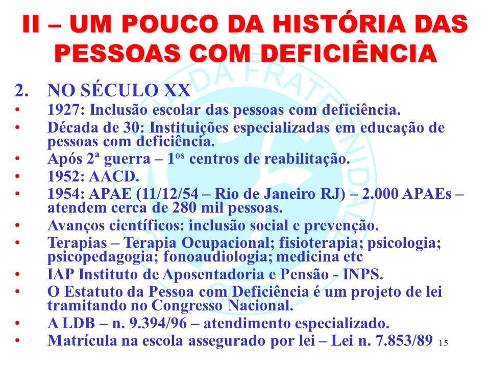 II – UM POUCO DA HISTÓRIA DAS PESSOAS COM DEFICIÊNCIA
