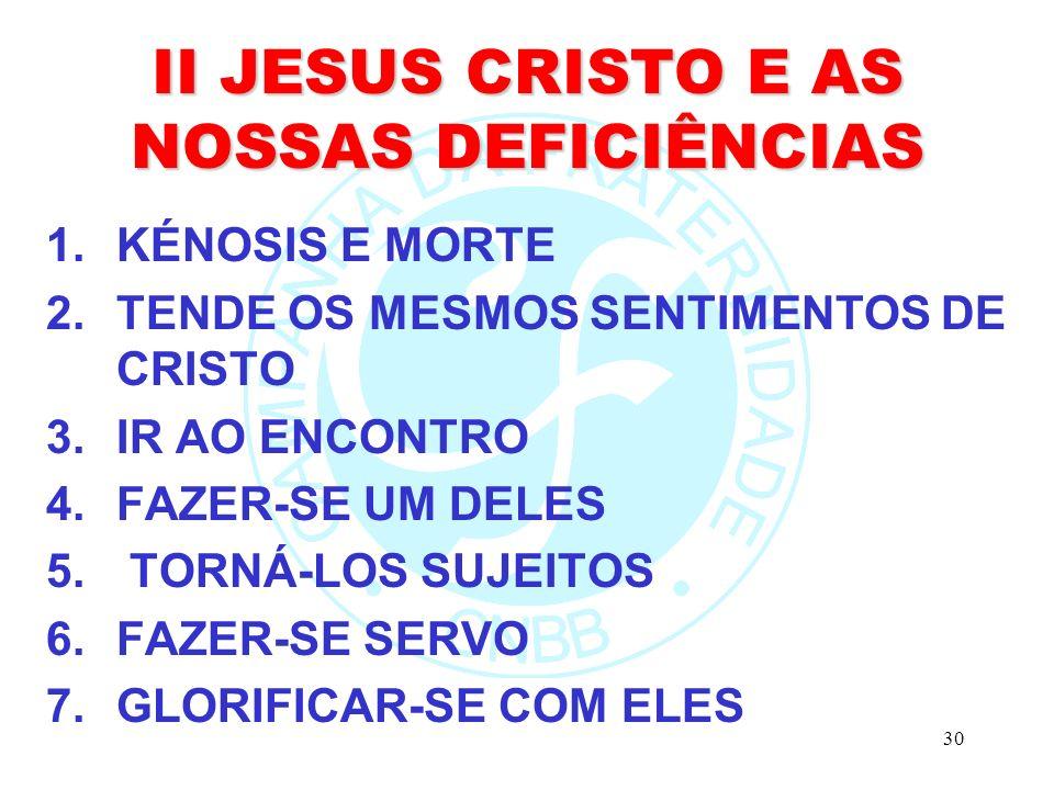 II JESUS CRISTO E AS NOSSAS DEFICIÊNCIAS