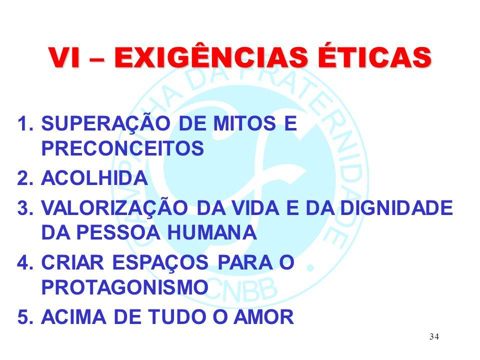 VI – EXIGÊNCIAS ÉTICAS SUPERAÇÃO DE MITOS E PRECONCEITOS ACOLHIDA