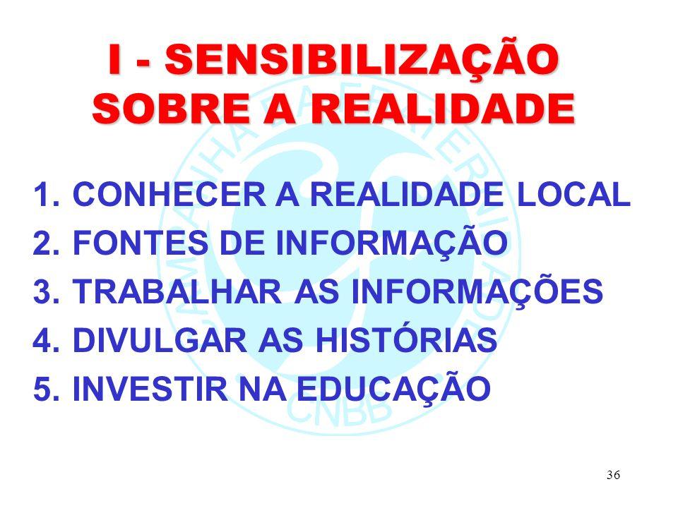 I - SENSIBILIZAÇÃO SOBRE A REALIDADE