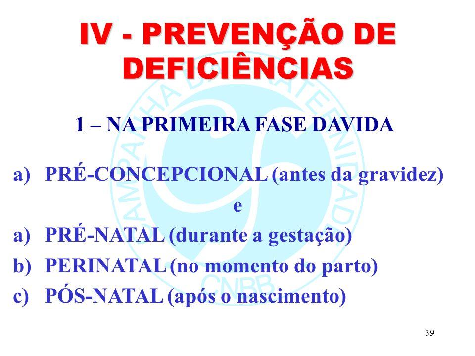 IV - PREVENÇÃO DE DEFICIÊNCIAS