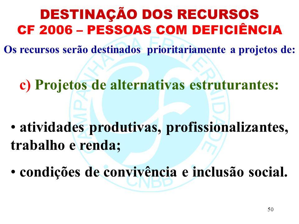 c) Projetos de alternativas estruturantes: