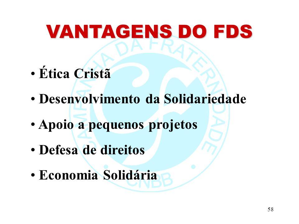 VANTAGENS DO FDS Ética Cristã Desenvolvimento da Solidariedade