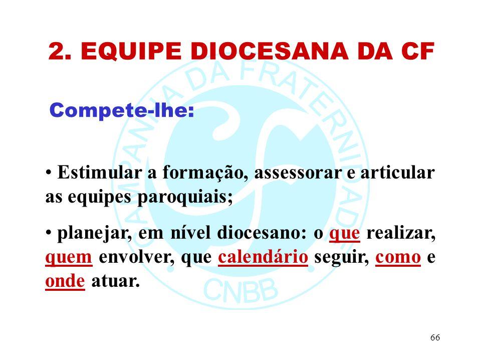 2. EQUIPE DIOCESANA DA CF Compete-lhe: