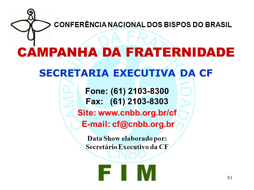 F I M CAMPANHA DA FRATERNIDADE SECRETARIA EXECUTIVA DA CF