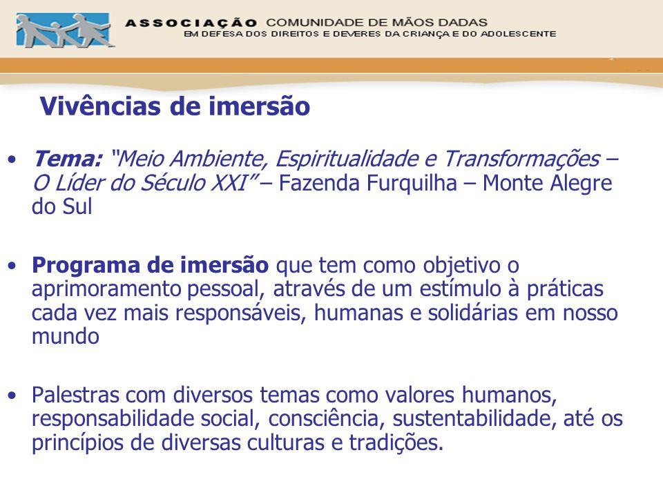Vivências de imersãoTema: Meio Ambiente, Espiritualidade e Transformações – O Líder do Século XXI – Fazenda Furquilha – Monte Alegre do Sul.