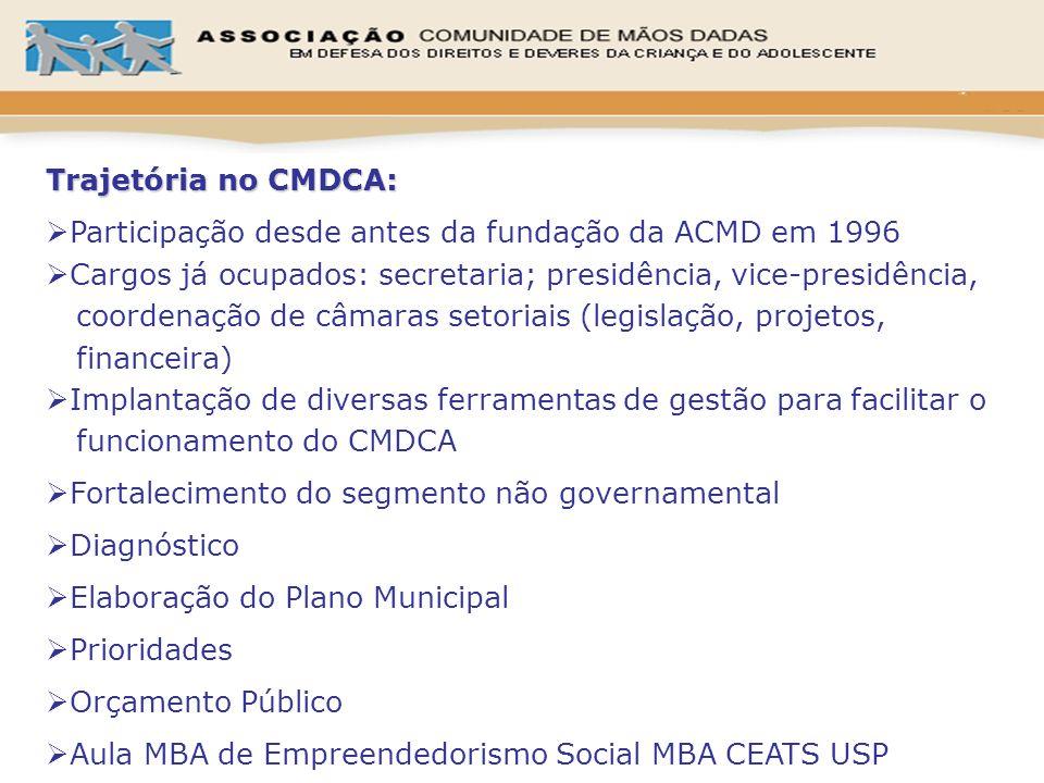 Trajetória no CMDCA: Participação desde antes da fundação da ACMD em 1996. Cargos já ocupados: secretaria; presidência, vice-presidência,