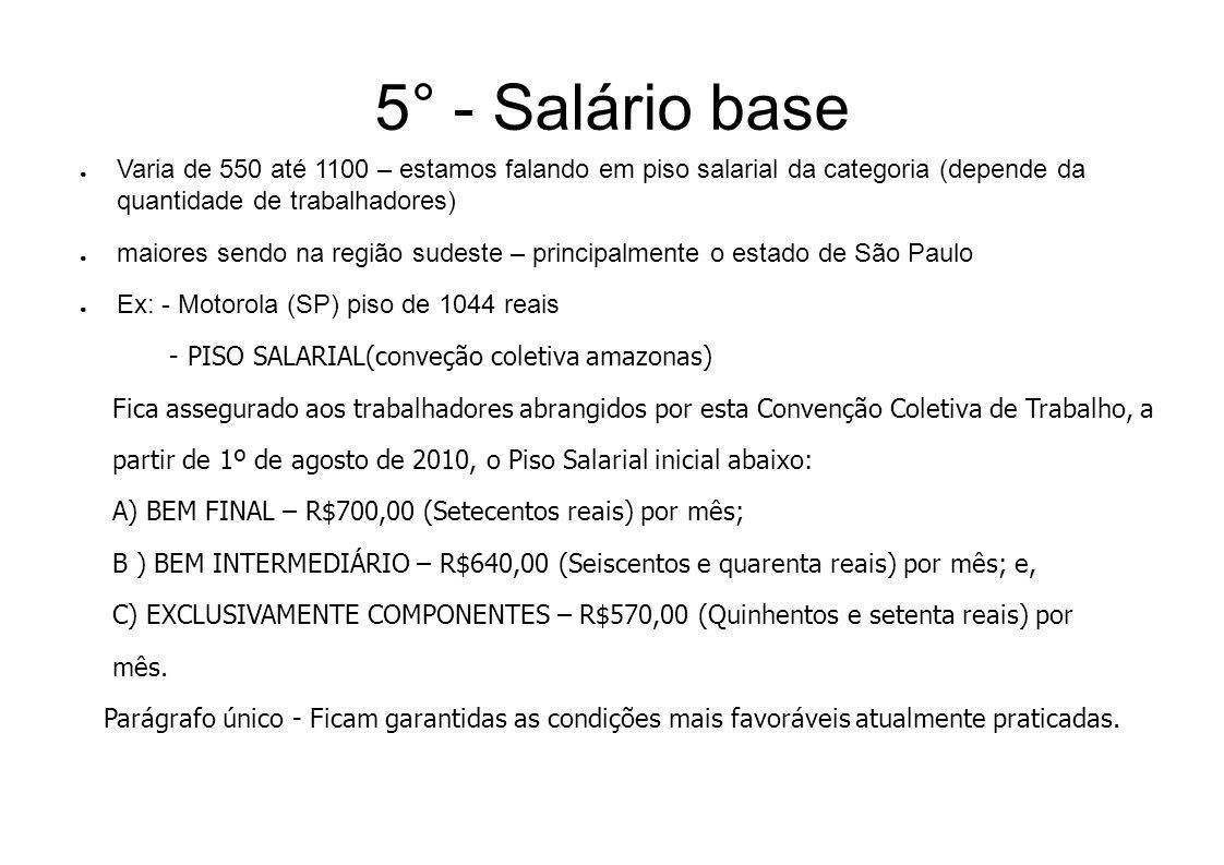 5° - Salário baseVaria de 550 até 1100 – estamos falando em piso salarial da categoria (depende da quantidade de trabalhadores)