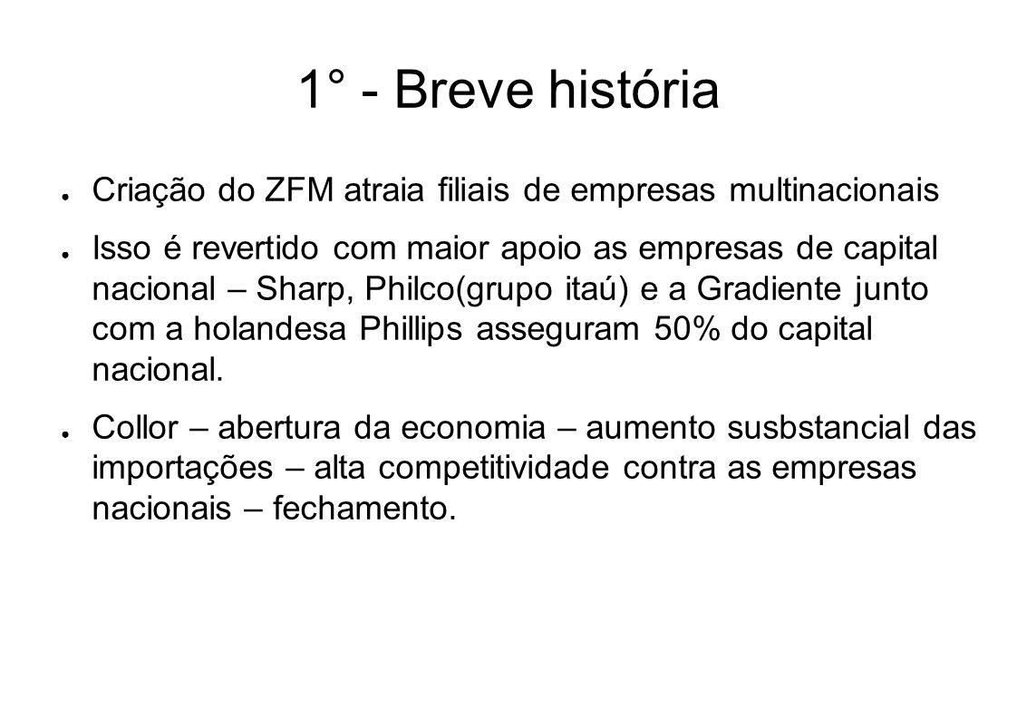 1° - Breve história Criação do ZFM atraia filiais de empresas multinacionais.