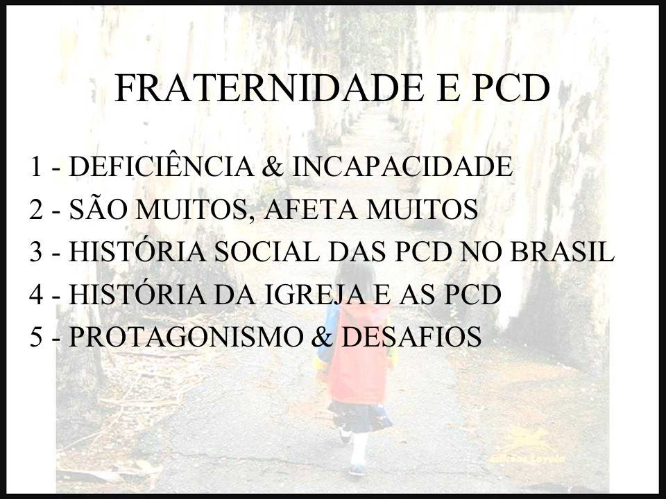 FRATERNIDADE E PCD 1 - DEFICIÊNCIA & INCAPACIDADE