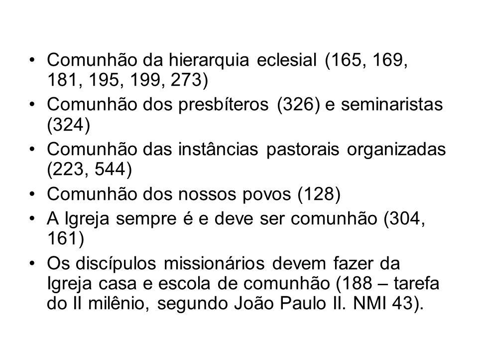 Comunhão da hierarquia eclesial (165, 169, 181, 195, 199, 273)