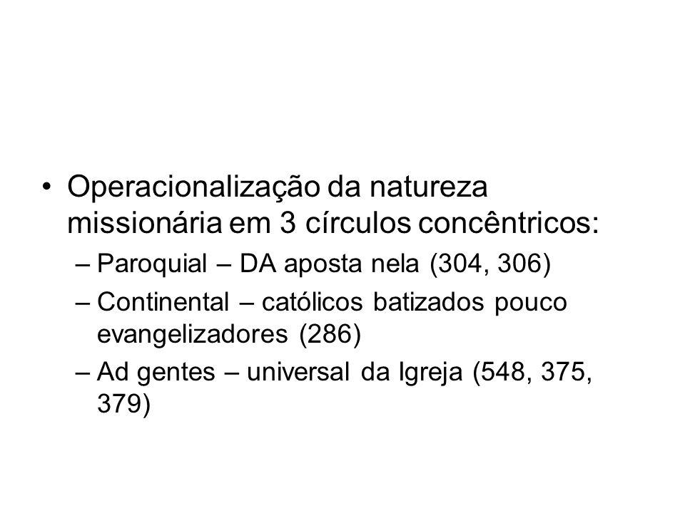 Operacionalização da natureza missionária em 3 círculos concêntricos: