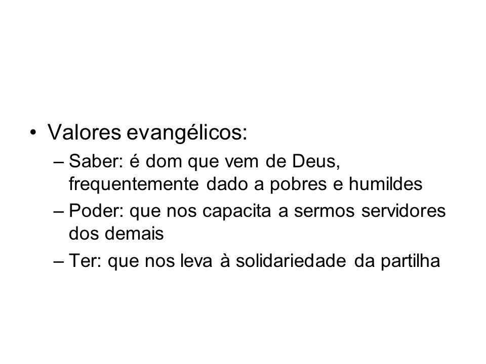 Valores evangélicos: Saber: é dom que vem de Deus, frequentemente dado a pobres e humildes. Poder: que nos capacita a sermos servidores dos demais.