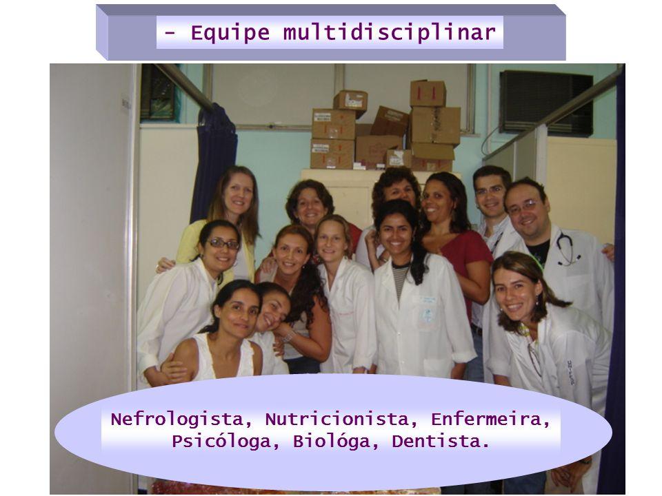 Nefrologista, Nutricionista, Enfermeira, Psicóloga, Biológa, Dentista.