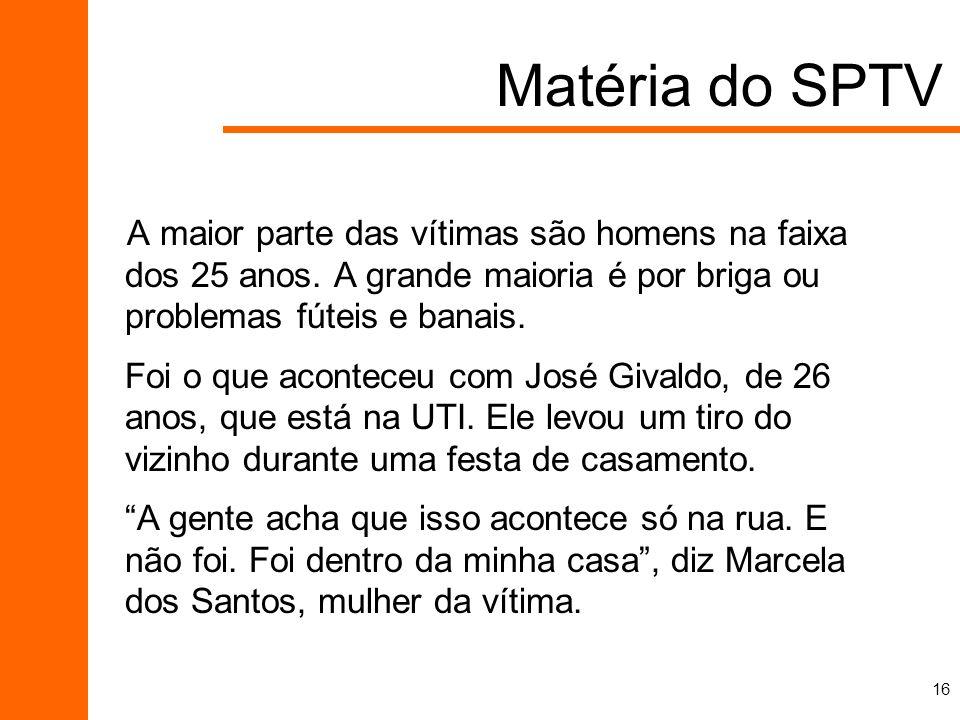 Matéria do SPTV A maior parte das vítimas são homens na faixa dos 25 anos. A grande maioria é por briga ou problemas fúteis e banais.