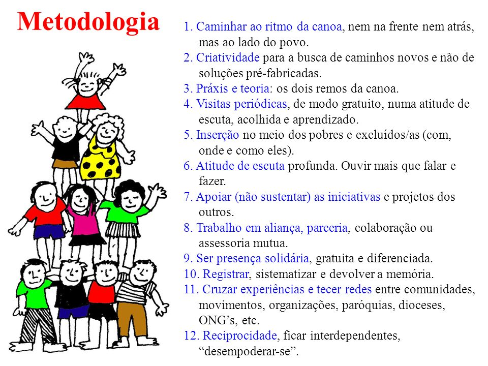 Metodologia 1. Caminhar ao ritmo da canoa, nem na frente nem atrás, mas ao lado do povo.