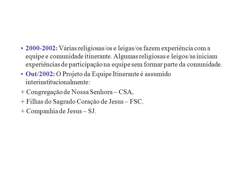 2000-2002: Várias religiosas/os e leigas/os fazem experiência com a equipe e comunidade itinerante. Algumas religiosas e leigos/as iniciam experiências de participação na equipe sem formar parte da comunidade.