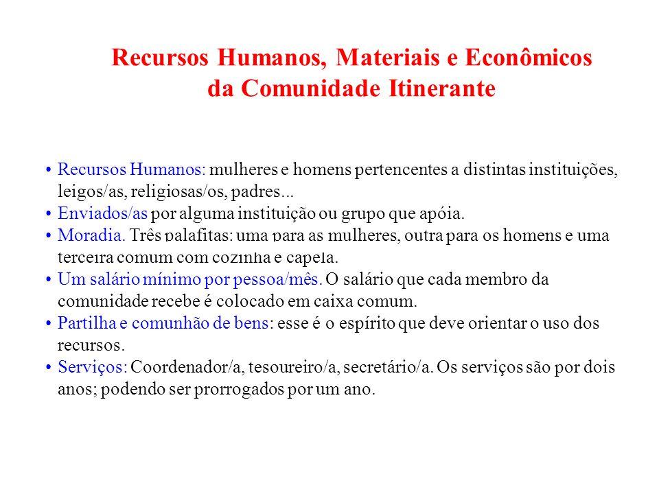 Recursos Humanos, Materiais e Econômicos da Comunidade Itinerante