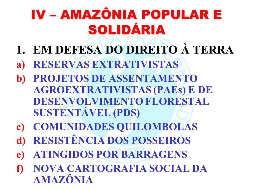 IV – AMAZÔNIA POPULAR E SOLIDÁRIA
