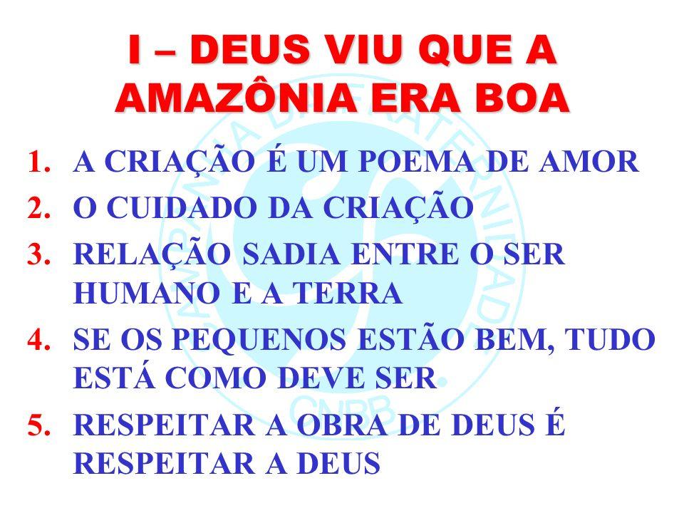 I – DEUS VIU QUE A AMAZÔNIA ERA BOA