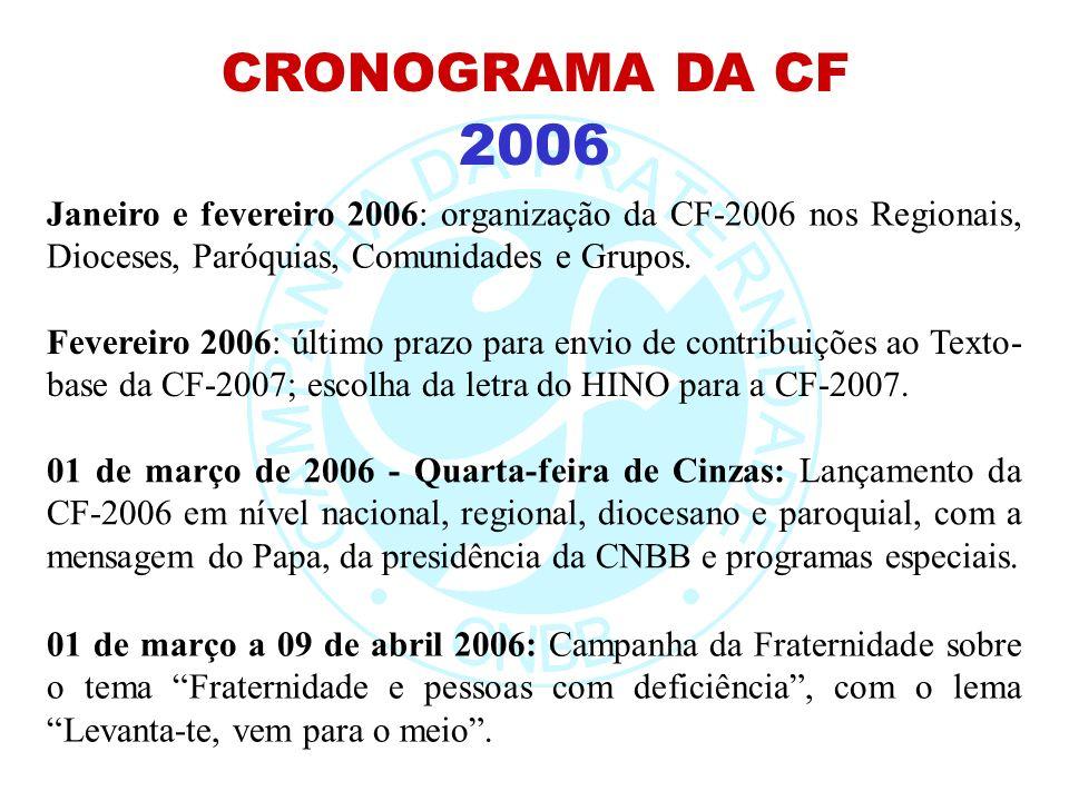 CRONOGRAMA DA CF2006. Janeiro e fevereiro 2006: organização da CF-2006 nos Regionais, Dioceses, Paróquias, Comunidades e Grupos.