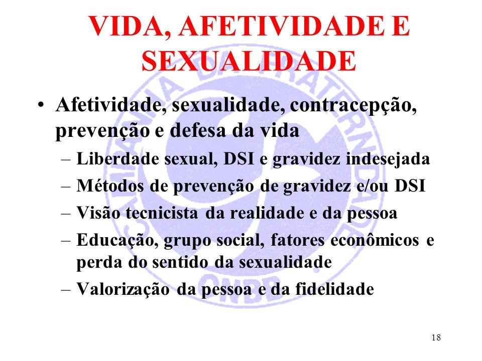 VIDA, AFETIVIDADE E SEXUALIDADE