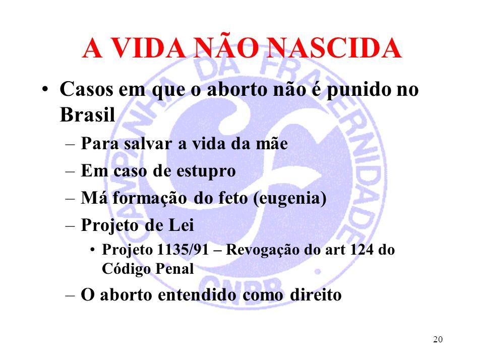 A VIDA NÃO NASCIDA Casos em que o aborto não é punido no Brasil