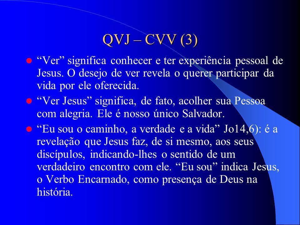 QVJ – CVV (3) Ver significa conhecer e ter experiência pessoal de Jesus. O desejo de ver revela o querer participar da vida por ele oferecida.