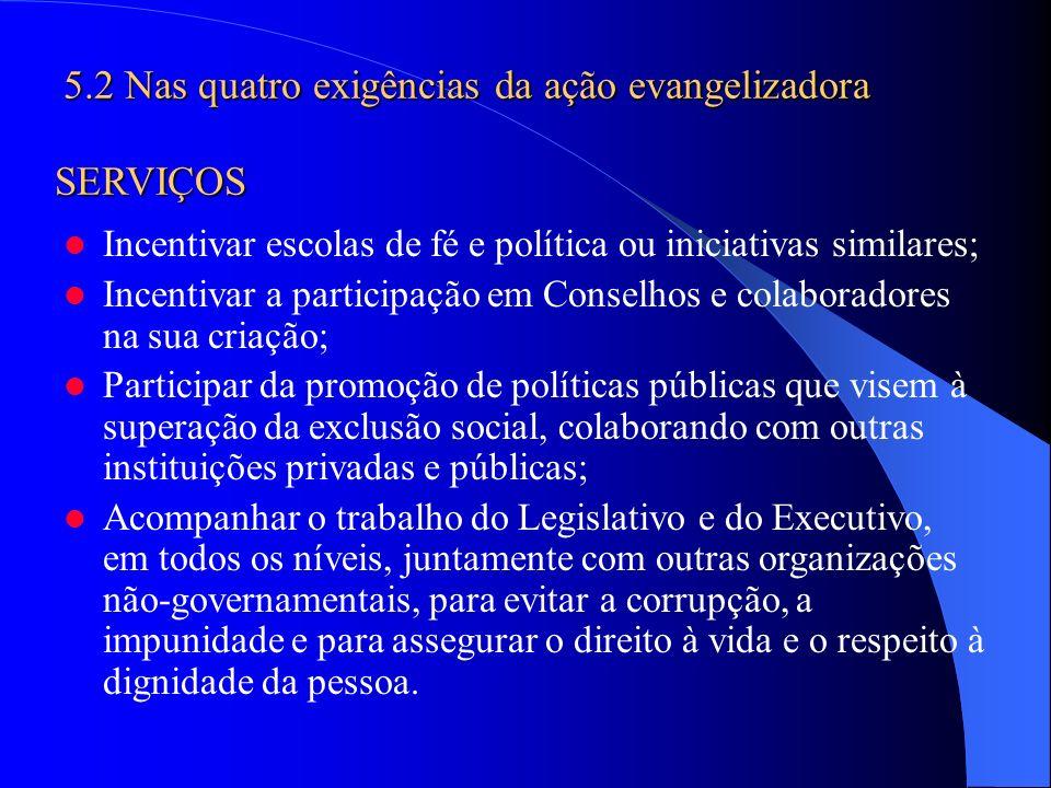 5.2 Nas quatro exigências da ação evangelizadora