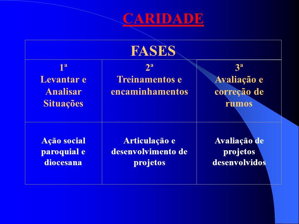CARIDADE FASES 1ª Levantar e Analisar Situações 2ª