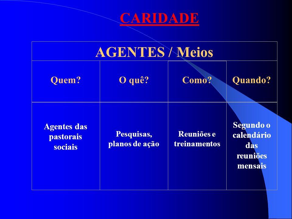 CARIDADE AGENTES / Meios