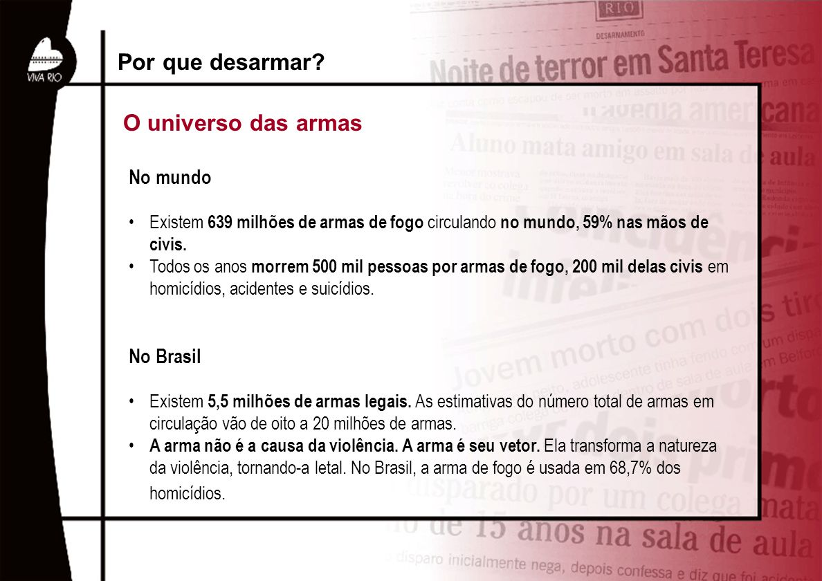 Por que desarmar O universo das armas No mundo No Brasil