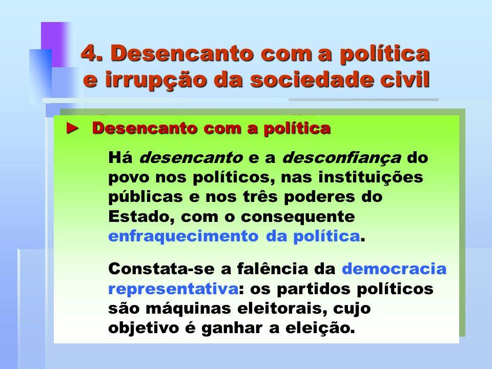 4. Desencanto com a política e irrupção da sociedade civil