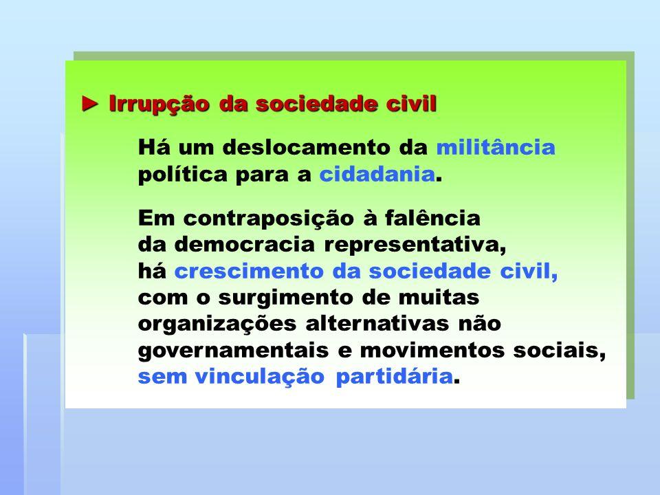 ► Irrupção da sociedade civil