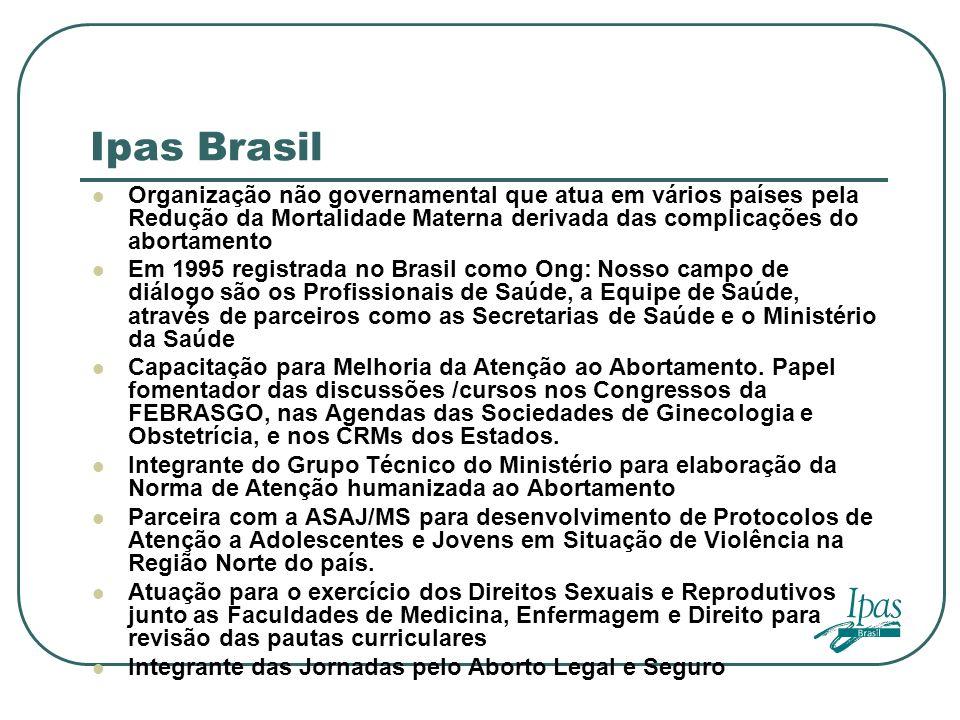 Ipas Brasil Organização não governamental que atua em vários países pela Redução da Mortalidade Materna derivada das complicações do abortamento.