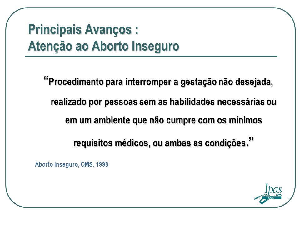Principais Avanços : Atenção ao Aborto Inseguro