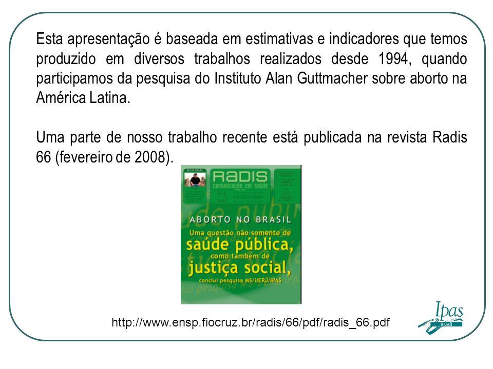 Esta apresentação é baseada em estimativas e indicadores que temos produzido em diversos trabalhos realizados desde 1994, quando participamos da pesquisa do Instituto Alan Guttmacher sobre aborto na América Latina.