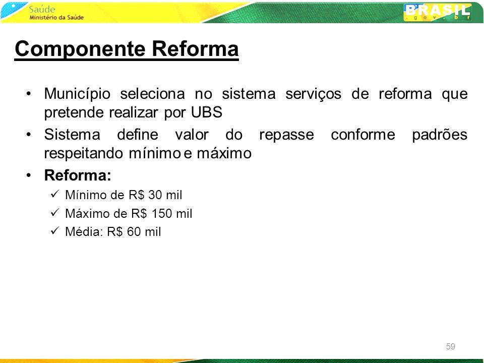 Componente Reforma Município seleciona no sistema serviços de reforma que pretende realizar por UBS.