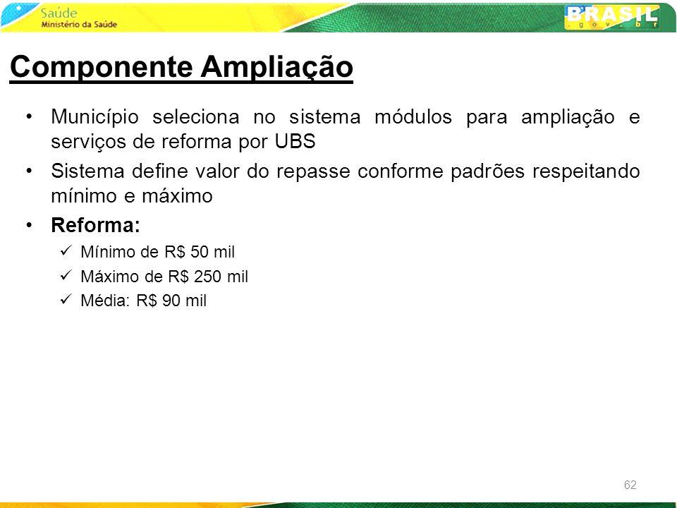 Componente AmpliaçãoMunicípio seleciona no sistema módulos para ampliação e serviços de reforma por UBS.