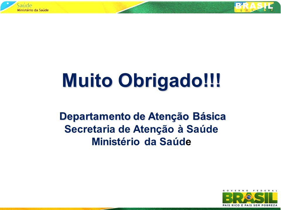 Muito Obrigado!!! Departamento de Atenção Básica Secretaria de Atenção à Saúde Ministério da Saúde